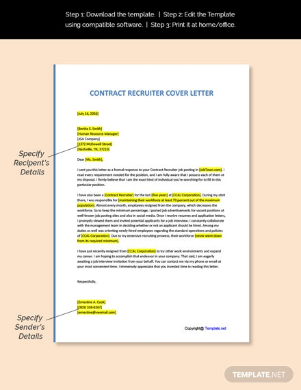 Contract Recruiter Cover Letter Template