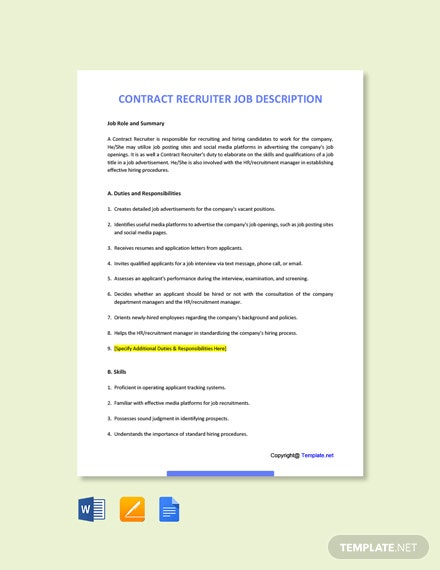 Free Contract Recruiter Job Description Template