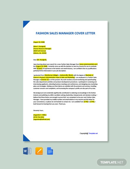 Free Fashion Sales Manager Cover Letter Template