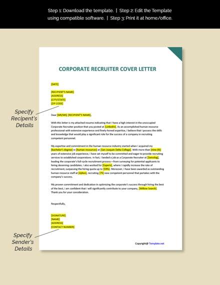 Corporate Recruiter Cover Letter Template