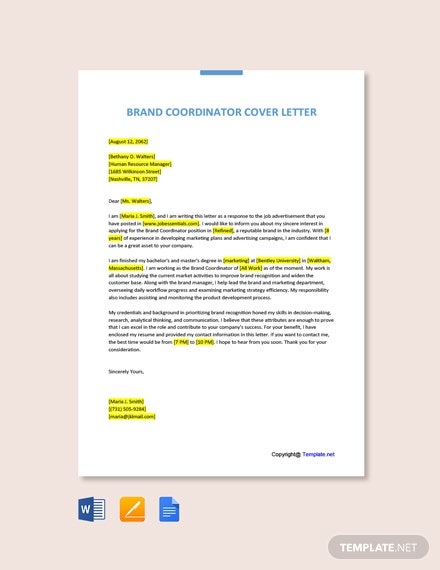 Free Brand Coordinator Cover Letter Template
