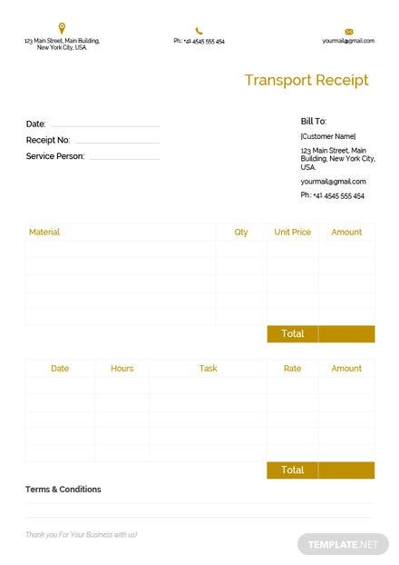 Free Transport Receipt Template