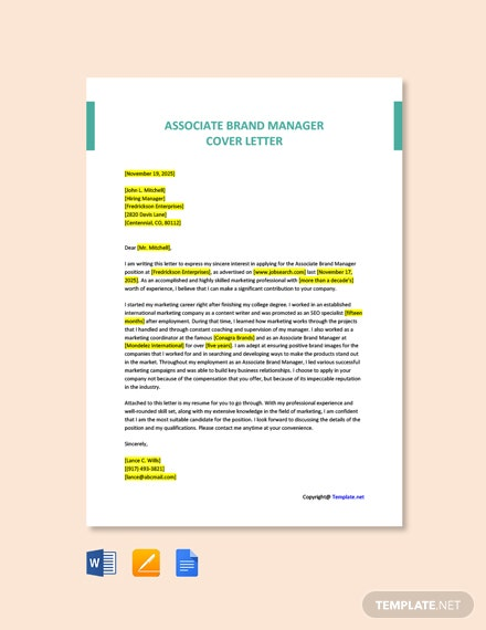 Free Associate Brand Manager Cover Letter Template