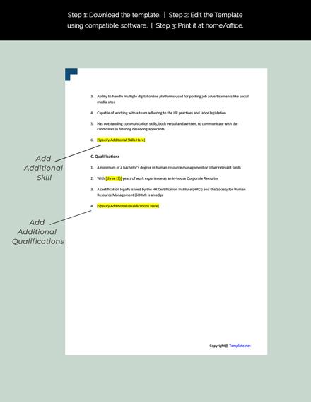 Corporate Recruiter Job Description Template