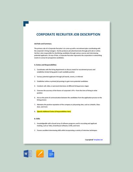 Free Corporate Recruiter Job Description Template