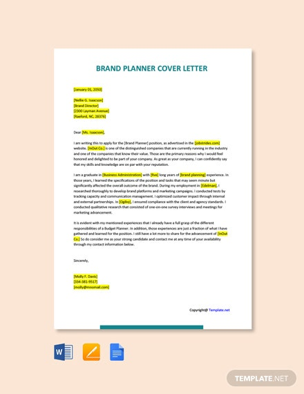 Free Brand Planner Cover Letter Template