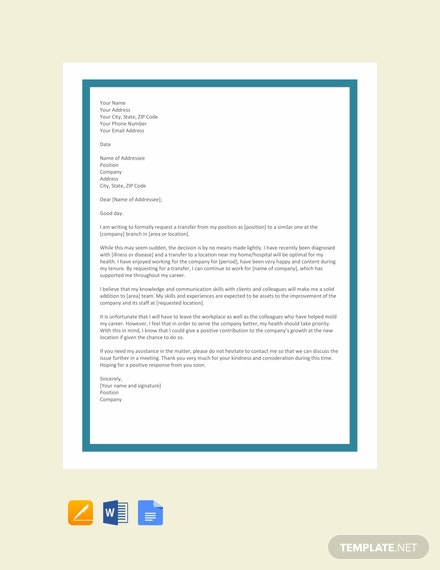FREE Transfer Request Letter due to Health Problem Template