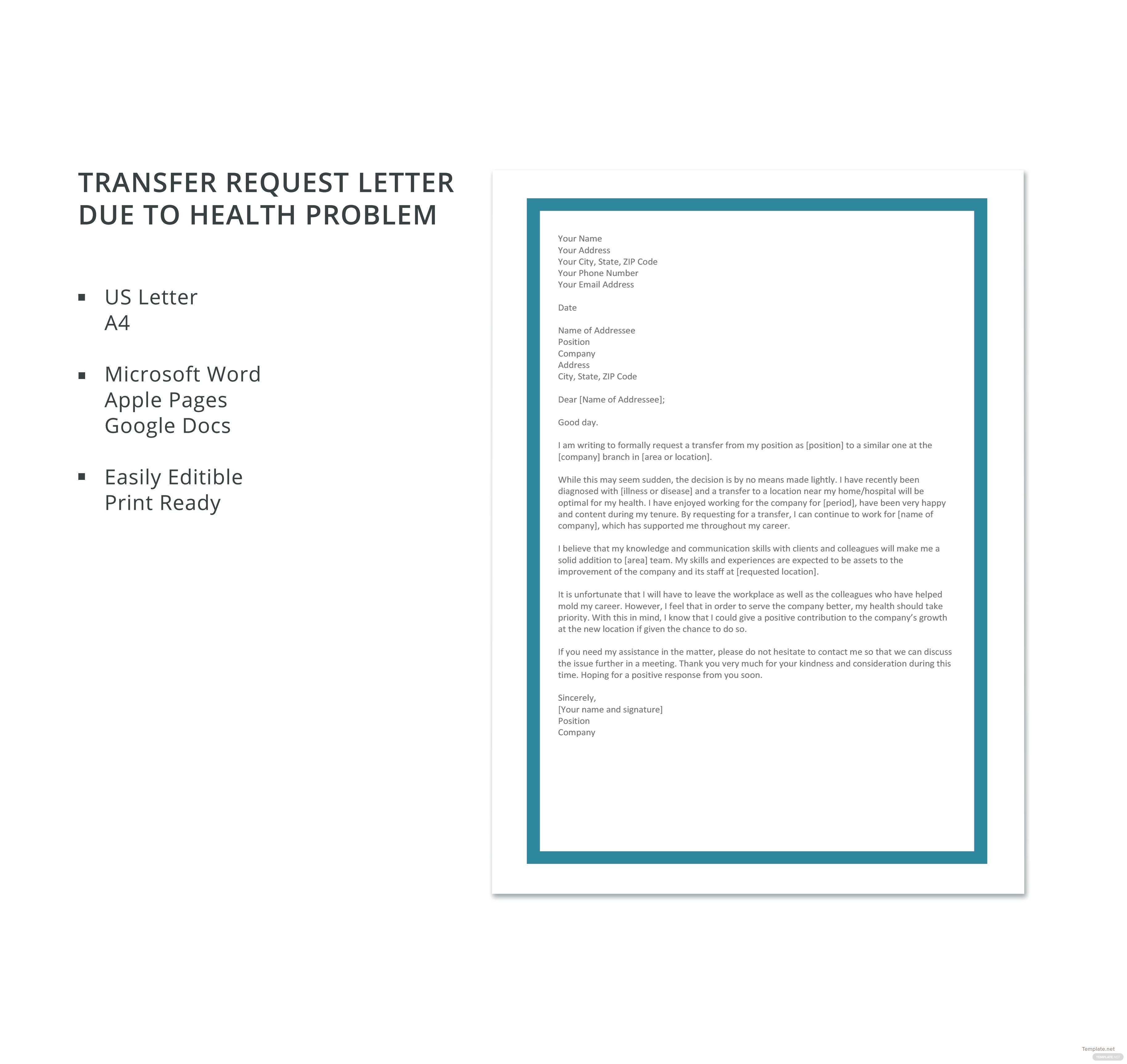 Transfer Request Letter Due To Health Problem Template In Microsoft