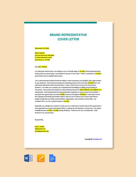 Free Brand Representative Cover Letter Template