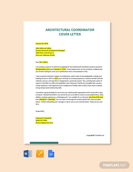 Free Architectural Coordinator Cover Letter Template