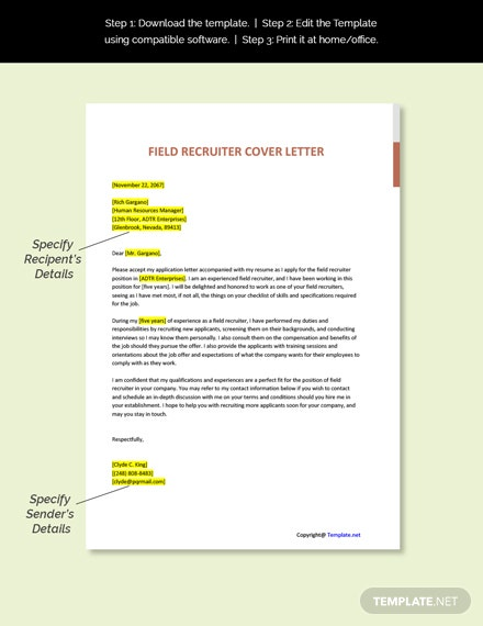 Field Recruiter Cover Letter Template