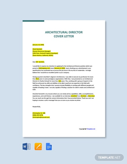 Free Architectural Director Cover Letter Template