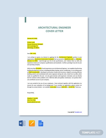 Free Architectural Engineer Cover Letter Template