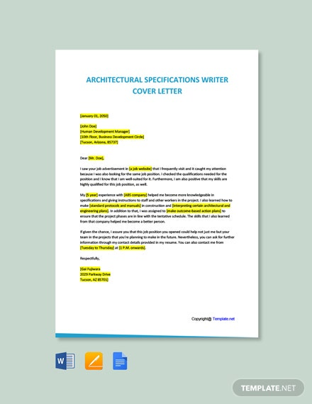 Free Architectural Specifications Writer Cover Letter Template