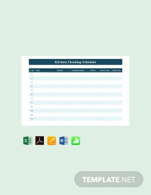 Free Blank Kitchen Cleaning Schedule Template