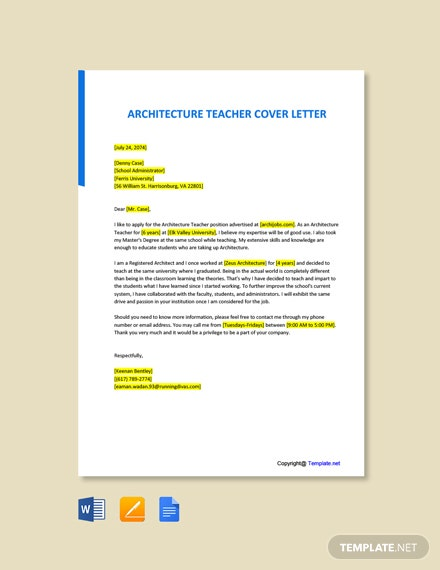 Free Architecture Teacher Cover Letter Template