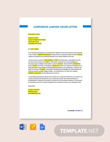 Free Corporate Lawyer Cover Letter Template