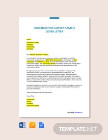 Free Construction Lawyer Sample Cover Letter Template