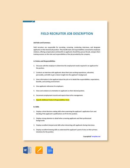 Free Field Recruiter Job Description Template