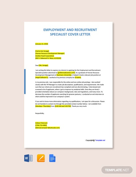 Free Employment and Recruitment Specialist Cover Letter Template
