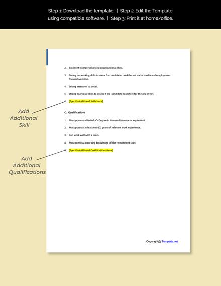 Employment and Recruitment Specialist Job Description Template