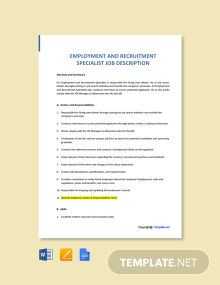 Free Employment and Recruitment Specialist Job Description Template