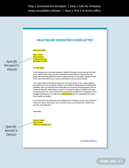 Healthcare Recruiter Cover Letter Template