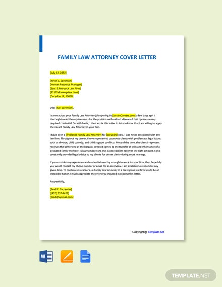 Free Family Law Attorney Cover Letter Template