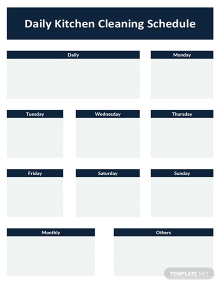 Daily Kitchen Cleaning Schedule Template