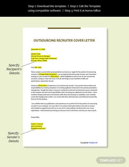 Outsourcing Recruiter Cover Letter Template