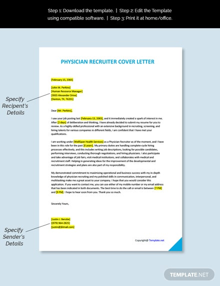 Physician Recruiter Cover Letter Template