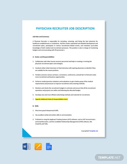 Free Physician Recruiter Job Ad and Description Template