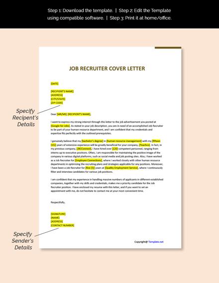 Job Recruiter Cover Letter Template