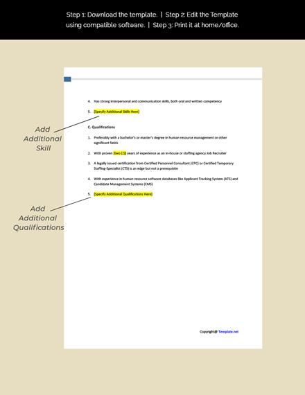 Job Recruiter Job Description Template