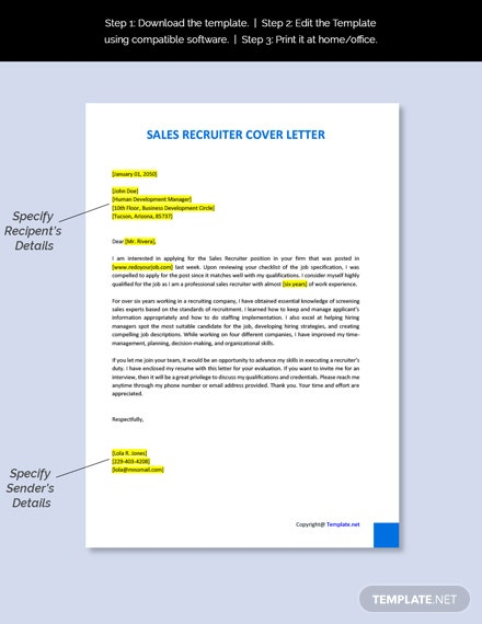 Sales Recruiter Cover Letter Template