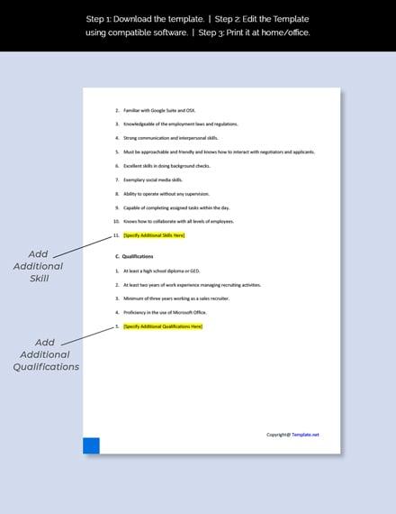 Sales Recruiter Job Description Template
