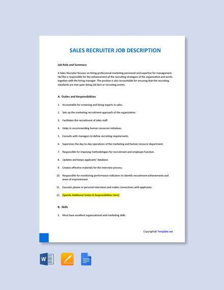 Free Sales Recruiter Job Ad and Description Template