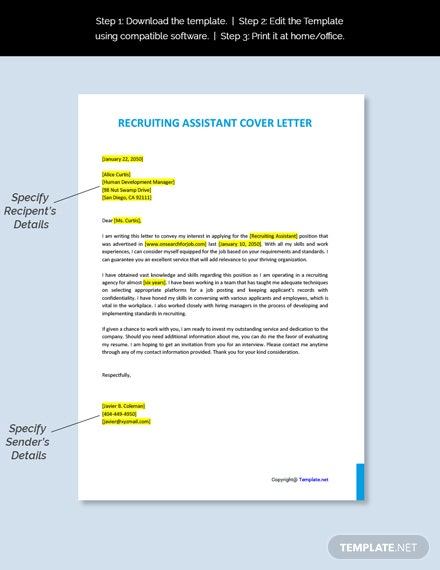 Recruiting Assistant Cover Letter Template