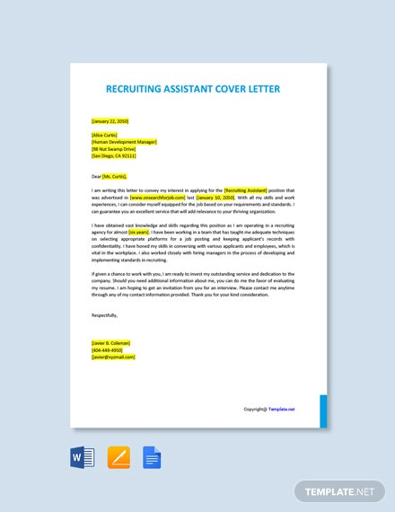 Free Recruiting Assistant Cover Letter Template