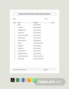 Free Restaurant Kitchen Cleaning Schedule Template