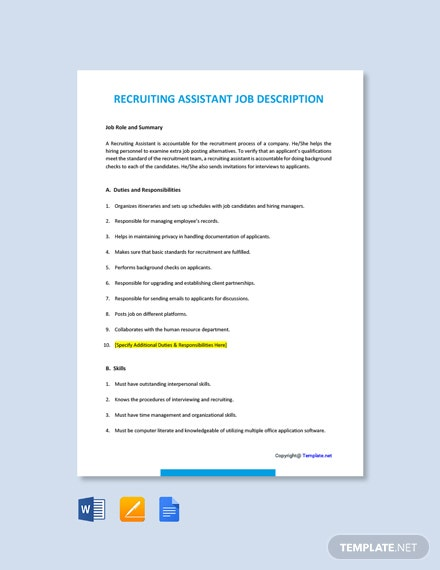 Free Recruiting Assistant Job Ad and Description Template