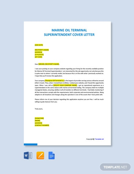 Free Marine Oil Terminal Superintendent Cover Letter Template