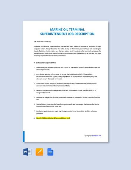 Free Marine Oil Terminal Superintendent Job Ad and Description Template