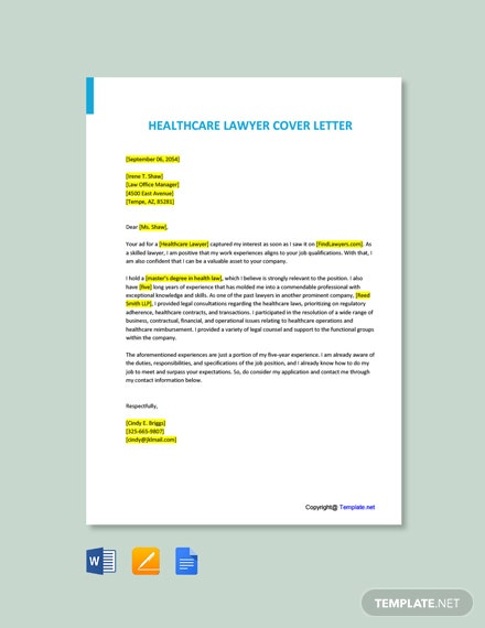 Free Healthcare Lawyer Cover Letter Template