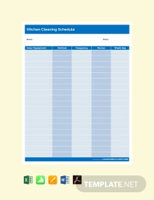 Free Simple Kitchen Cleaning Schedule Template