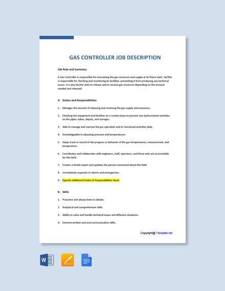 Free Gas Controller Job Ad and Description Template