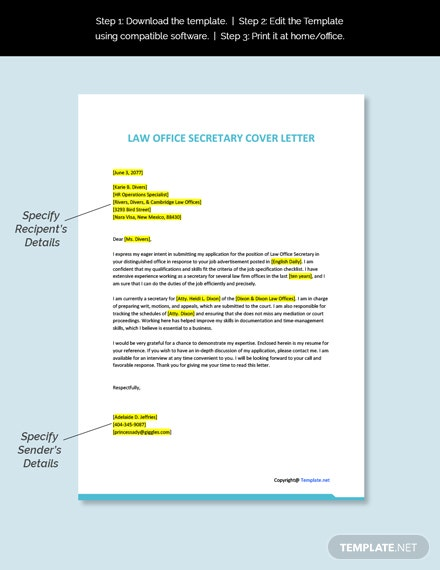 Law Office Secretary Cover Letter Template