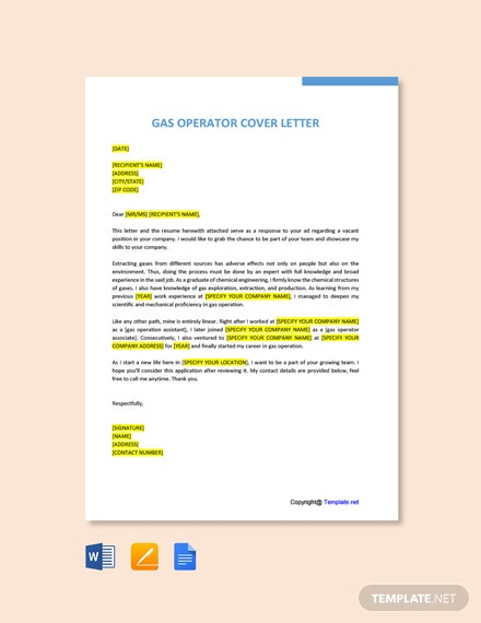 Free Gas Operator Cover Letter Template