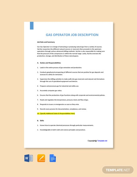 Free Gas Operator Job Ad and Description Template