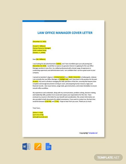 Free Law Office Manager Cover Letter Template